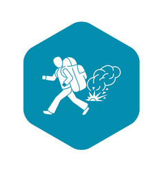 Running migrant man icon simple style vector