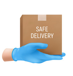 Safe delivery concept with a human hand in a blue vector