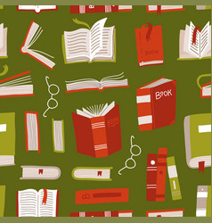 seamless book pattern different books vector image