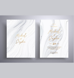 Set acrylic wedding invitations with stone vector