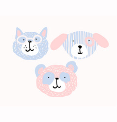 Set cute animal faces in pastel colors vector