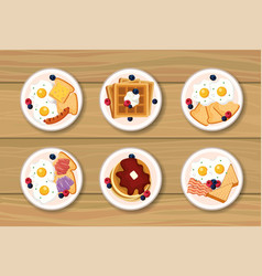 set healthy bearkfast with protein nutrition vector image