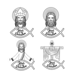 set jesus is my salvation pray bless vector image