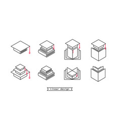 set linear icons for school or college or vector image
