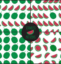 Set of 4 watermelon slice seamless pattern vector image
