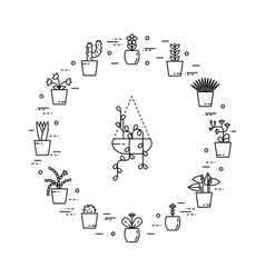 set of house plant in round shape vector image