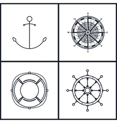 Set of maritime icons vector