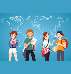 Set of students with books on world map background vector