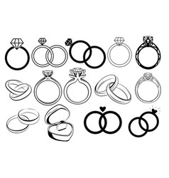 set wedding rings collection engagement vector image