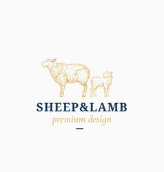 Sheep and lamb abstract sign symbol or vector