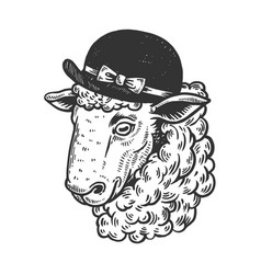 sheep animal in woman hat engraving vector image