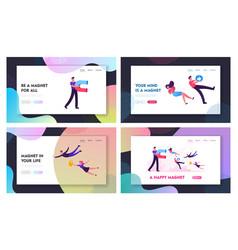social media marketing website landing page set vector image
