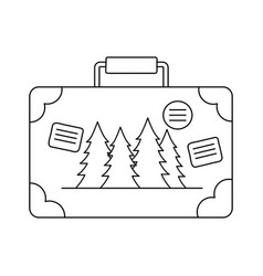 suitcase travel with pines forest vector image