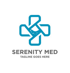 symbol logo plus medical design vector image