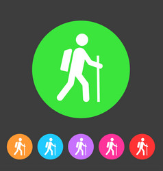 trekking hiking with stick bacpack icon flat web vector image