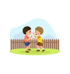 Two aggressive boys fighting bad behavior vector