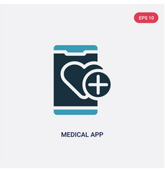 Two color medical app icon from mobile app vector