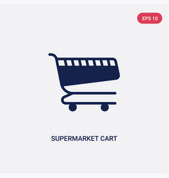 two color supermarket cart icon from commerce vector image