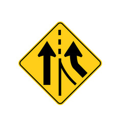 Usa traffic road signs added lane ahead vector