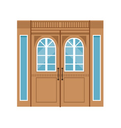 Vintage double wooden doors closed elegant front vector