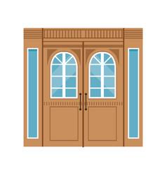 Vintage double wooden doors closed elegant front vector