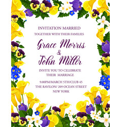 Wedding invitation card with flower bouquet vector