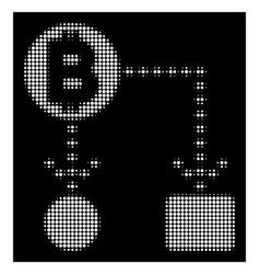 white halftone bitcoin cashflow scheme icon vector image