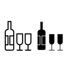 wine and two glasses line and glyph icon drink vector image