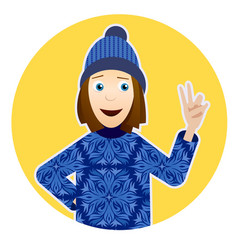 with smiling girl in sweater with vector image