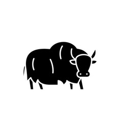yak black icon sign on isolated background vector image