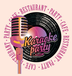 banner with mic and vinyl record for karaoke party vector image vector image