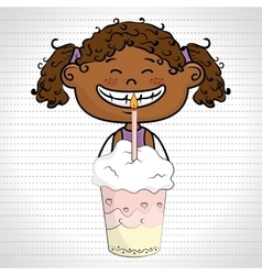 girl cup cake candle vector image