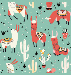 llamas and cactus in a pot on green vector image vector image