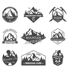 set of isolated rocky mountain peaks or hills vector image