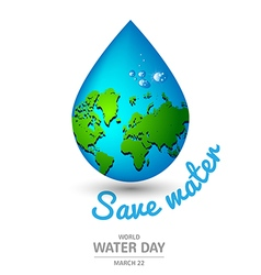 Water drop earth ecology concept for World Water vector image