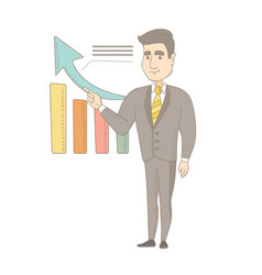young caucasian businessman pointing at chart vector image