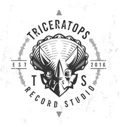 Dinosaur record studio logo template Triceratops vector image vector image