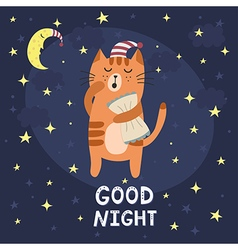 Good night card with a cute sleepy cat vector image
