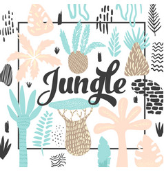 jungle tropical design in childish style floral vector image vector image