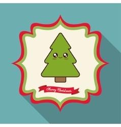 Kawaii pine tree of christmas season vector