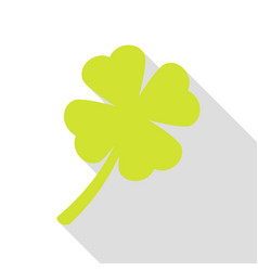 leaf clover sign pear icon with flat style shadow vector image vector image