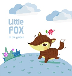 little fox lovely vector image
