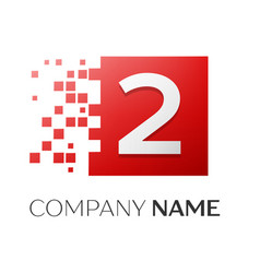 number two logo symbol in the colorful square on vector image