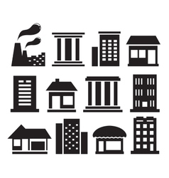 set urban building icons vector image vector image