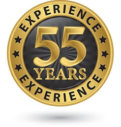 55 years experience gold label vector image vector image