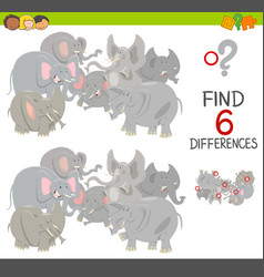 Differences game with elephants vector