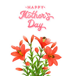 mothers day card with red lilies with water drops vector image vector image