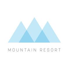 mountain resort logo template blue triangle shape vector image vector image