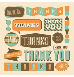 Retro style thank you design elements collection vector