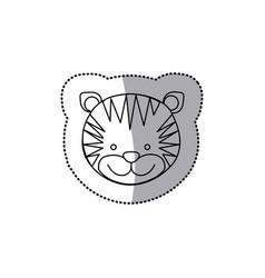 Sticker monochrome contour with male tiger head vector